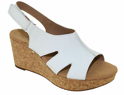 8dc7c18dec8 Clarks Women s Annadel Bari Platform Sandal White Leather Style 32952