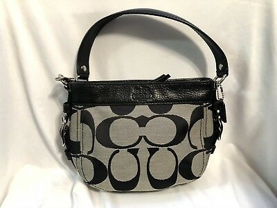 effb25abd7 Black COACH Signature Monogram Canvas Jacquard Leather Mini Handbag Purse