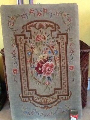 Antique C19th Victorian Wool Tapestry Floral Framed Large Wall Hanging 1m 6 X 67