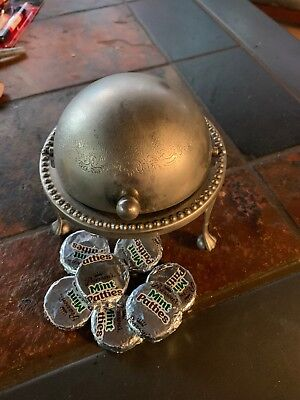 Antique English Candy Dish Metal Body With Removable Glass Dish