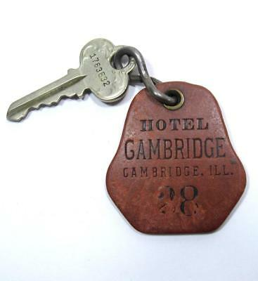 Vintage Hotel Cambridge Keychain & Key #28 Fob Illinois IL Motel Room