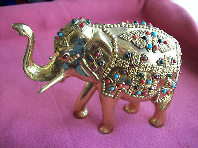 Fine Antique Brass Coral Turquoise Filigree Stones Jeweled Elephant Figurine