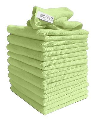 Exel GCC0030-Y Microfibre Cleaning Cloths, Green, Pack Of 10
