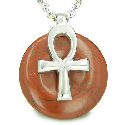All Powers of Life Ankh Egyptian Amulet Red Jasper Lucky Donut Pendant 18 Inch N