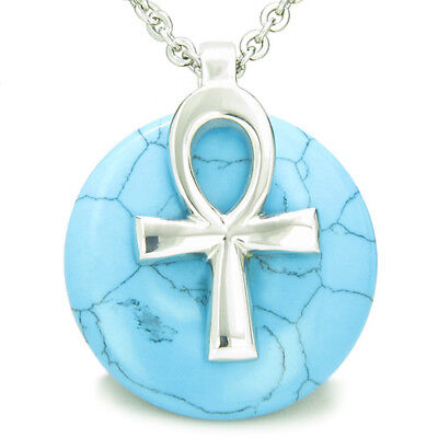 All Powers of Life Ankh Magic Amulet Simulated Turquoise Lucky Donut Pendant 18