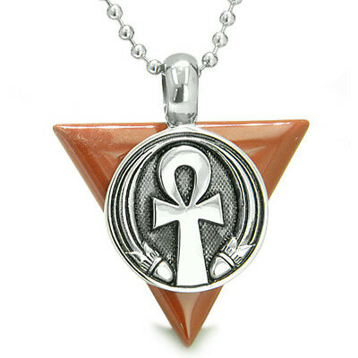 Amulet Ankh Egyptian Powers of Life Pyramid Energies Red Jasper Pendant 22 Inch