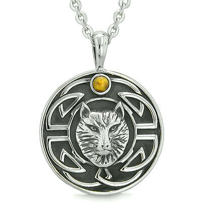 Amulet Courage Wisdom Wolf Ancient Viking Celtic Knot Tiger Eye Protection Power