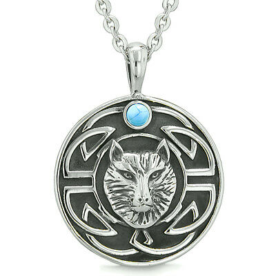 Amulet Courage Wisdom Wolf and Ancient Viking Celtic Knot Simulated Turquoise Pe