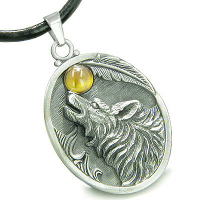 Amulet Howling Wolf Tiger Eye Moon Lucky Charm Pendant Necklace