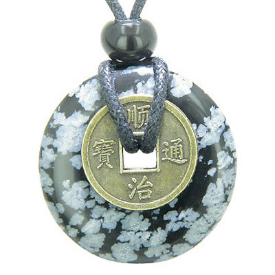 Lucky Coin Evil Eye Protection Powers Amulet Snowflake Obsidian 30mm Donut Penda