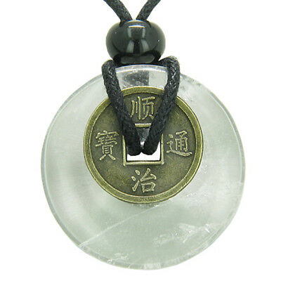 Lucky Coin Evil Eye Protection Powers Amulet Crystal Quartz 30mm Donut Pendant N