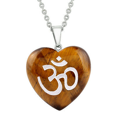 Amulet Ancient OM Ohm Egyptian Powers Protection Energy Tiger Eye Puffy Heart Pe