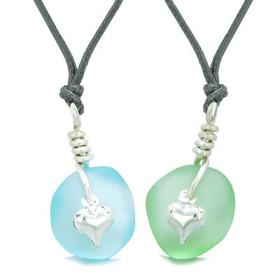 Twisted Twincies Heart Small Sea Glass Lucky Charm Love Couples BFF Set Mint Gre