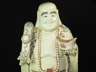 Rare 19th century Chinese Handmade & Carved Wealth Maitreya Buddha Statue