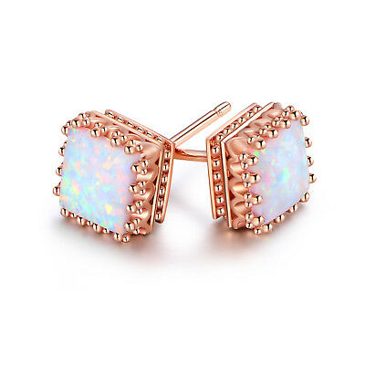 Rose Gold Plated White Fire Opal Square Crown Stud Earrings