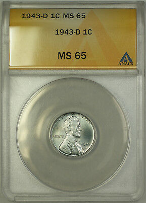 1943-D Lincoln Wartime Steel Cent Wheat Penny 1c Coin ANACS MS-65