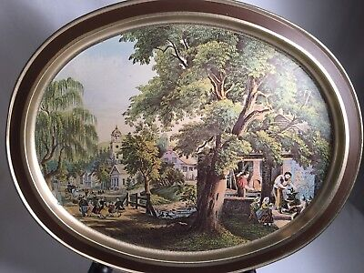 Sunshine Biscuits Vintage Oval Tin Tray W/Currier & Ives Lithograph Reproduction