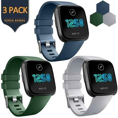 Fitbit Versa Band Soft Silicone Sport Wrist Strap Replacement S/L 3 Pack Men