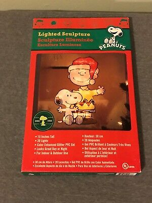 "Peanuts 15"" Lighted Charlie Brown And Snoopy Christmas Sculpture Window Decor"