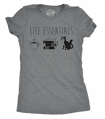 WOMENS LIFE ESSENTIALS Tshirt Funny Coffee Books Cat Lover Tee For