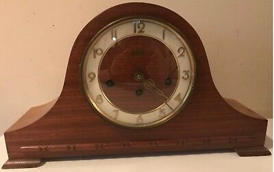 Antique Welby Westminster Chime Tambour Mantle Shelf Clock Serviced w Key German