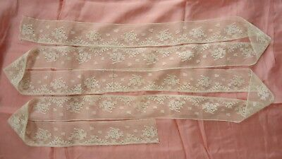 """Antique long flounce with pretty repeat floral pattern in VGC/ 113"""" x 2 1/4"""""""