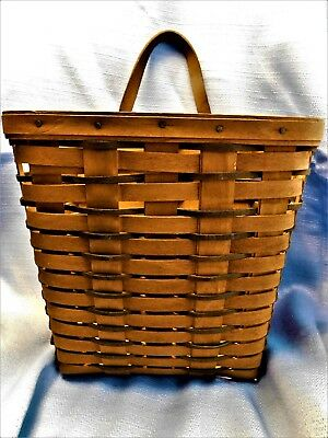 Longaberger 1992 Tall 2-Tone Wall Basket Leather Handle w/Hanging Bracket