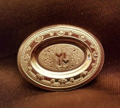 Dollhouse miniature vintage sterling silver English Huguenot plate,  1:12