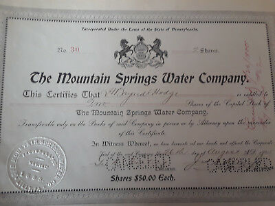 The Mountain Springs Water Company Stock Certificate