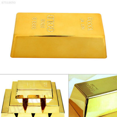 990A Gold Brick Simulation Paperweigh Props Toy Table Decor Creative Plastic