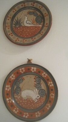 Mexican Folk Art Pottery Hand Painted Decorative Hanging Plates LOT OF 2 VINTAGE
