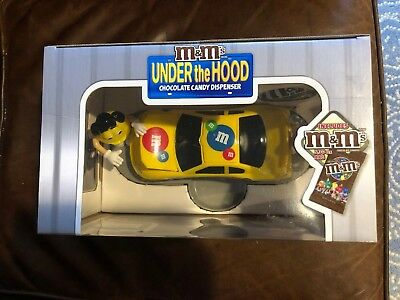 M&M's Under The Hood Yellow Candy Dispenser Special Edition Race Car