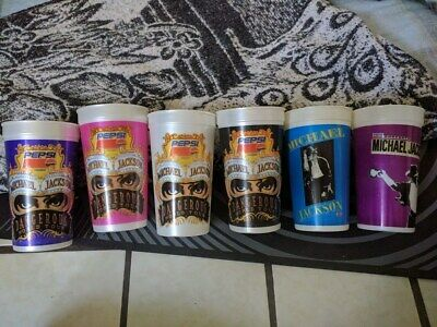 Michael Jackson 6 cups Dangerous World Tour 1992 set complete vintage pepsi