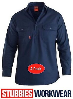 Pack Of 4 Stubbies  Closed Front 100% Cotton Drill Work Shirt Long Sleeve Bw7583