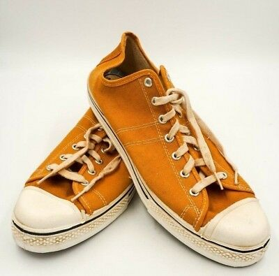 Vintage CONVERSE SNEAKERS Shoes 70's BLUE LABEL Mustard Sz12 Never Worn Star men