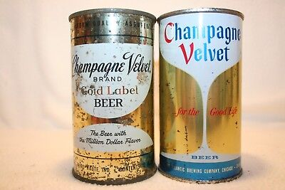 Champagne Velvet Beer 12 oz. flat tops from Terra Haute, IN. & Chicago, ILL.