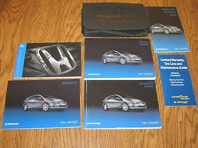 2011 HONDA INSIGHT OWNERS MANUAL w/supplemental books, and a soft case