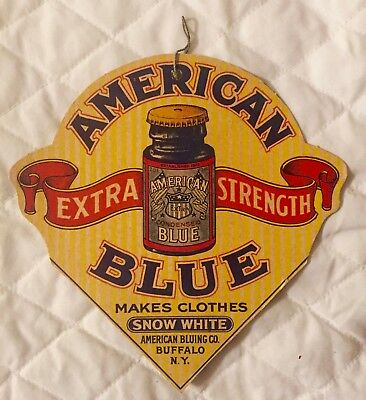 Antique Advertising Hanging Cardboard Sign American Blue (Bleach)