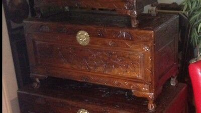 Chinese,Medium,Chest/blanket/toy Box. wood.oriental,asian,Thai,carved Ottoman.