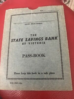 Vintage State Bank Of Victoria Pass-book Cover Only 1961 ??