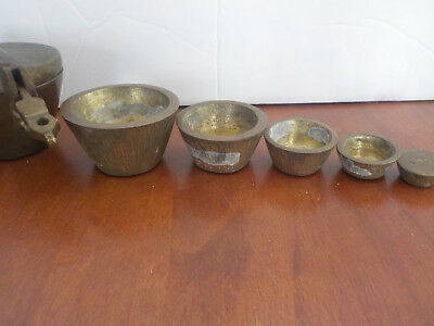 Antique Vintage Brass Nesting Scale Weight Full Set In The Hinged Lid Box