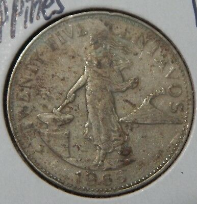 1966 Philippines 6 Smoke Rings 25 Centavos KM#189.2