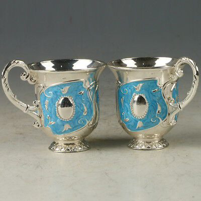 A Pair Of Chinese Exquisite Cloisonne Hand-made Pattern Wine Cup R0078+b