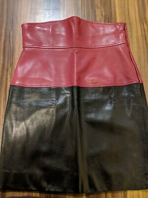 Vintage YSL Rive Gauche Leather Skirt Size 42