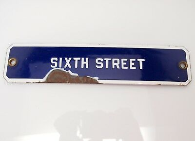 Vintage Porcelain Sign Building Plaque SIXTH STREET, Man Cave, Sign