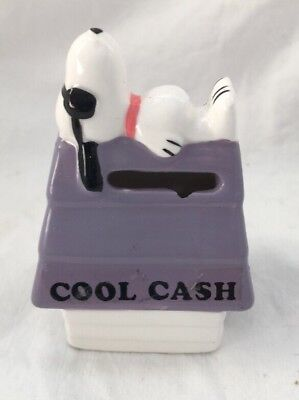 Vintage Snoopy Dog House JOE COOL CASH Miniature Coin Still Piggy Bank