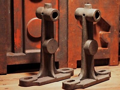SET OF 2 CAST IRON INDUSTRIAL FACTORY LINE SHAFT SUPPORT BRACKETS EARLY 1900's