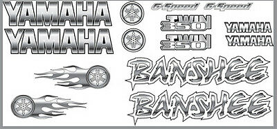 Yamaha Banshee Decals White/Silver Full Color Stickers Graphics 14pc ATV QUAD