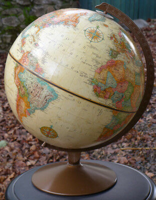 "Replogle USA World Classic Globe 12"" 1980's metal stand USSR raised relief vtg"