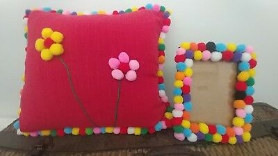 Handcrafted photo frame & matching cushion